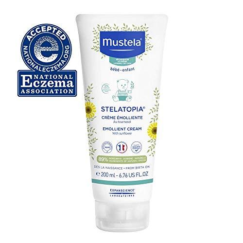 Mustela Stelatopia Emollient Baby Cream - Moisturizing Body Lotion for Eczema-Prone Skin - with Natural Avocado & Sunflower Oil - Fragrance-Free - 6.76 fl. Oz