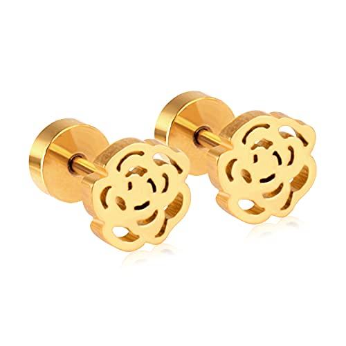 Patrones Flor Estrella pequeños Pendientes Conjuntos de pendientes de acero inoxidable para mujer Pendientes de joyería