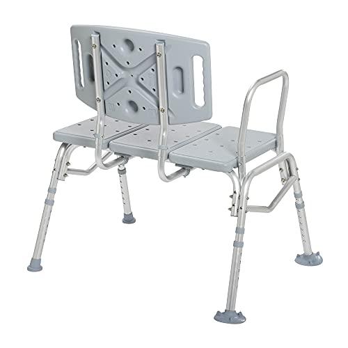 Drive Medical Heavy Duty Bariatric Plastic Seat Transfer Bench, Gray