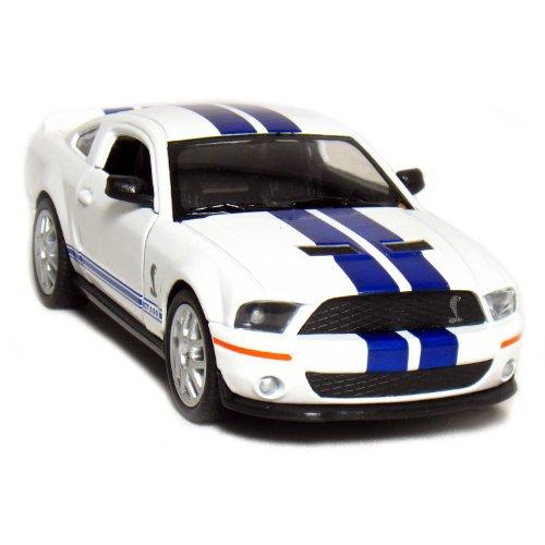 5' 2007 Shelby GT500 1:38 Scale (White/Blue Stripes) by Kinsmart
