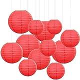 GUOXIANG 12 unidades de farolillos de papel rojo para decoración de fiestas y celebraciones, de papel, redondos, diámetro 15/20/25/30 cm