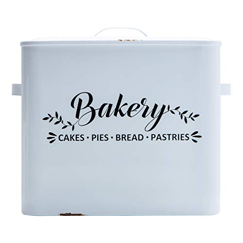NIKKY HOME Extra Large Space Saving Bread Box for Kitchen Countertop - Holds 2 Loaves - Farmhouse Bakery Breadbox Bread Bin Storage Container Holder High Capacity, White