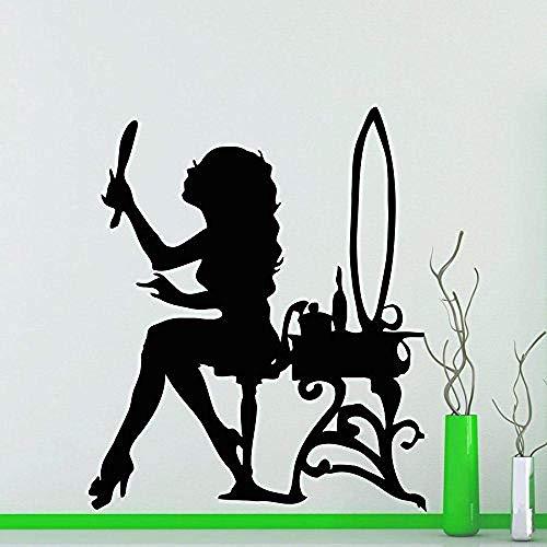 Muurstickers muurschilderingen Decals Schoonheid Salon Meisje Spiegel Poeder Kamer Vinyl Woonkamer Thuis Badkamer Interieur Ontwerp Art 42X53cm