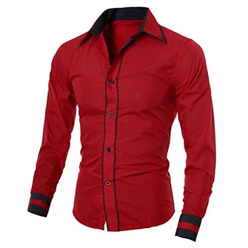 Herren Hemd,Sannysis Männer Casual Langarmshirt Top Bluse (2XL, Rot)