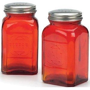 RSVP International 8 oz Retro Glass Salt & Pepper Shakers, Red | Stainless Steel Lids |, 12 oz