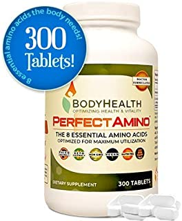 BodyHealth PerfectAmino (300 Tablets) 8 Essential Amino Acids Supplements with BCAA, Increase Muscle Recovery, Boost Energy & Stamina, 99% Utilization, Vegan Branched Chain Protein Pre/Post Workout