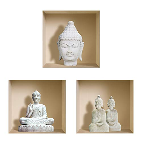 THE NISHA Art Magic 3D Vinyl Removable Wall Sticker Decals DIY, Set of 3, White Buddha