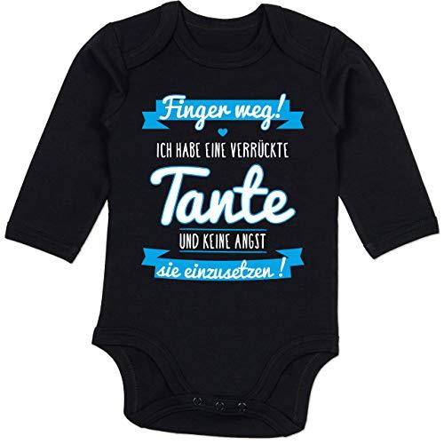 Shirtracer Sprüche Baby - Ich Habe eine verrückte Tante Blau - 6/12 Monate - Schwarz - Baby Tante Strampler - BZ30 - Baby Body Langarm