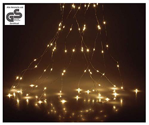 LED Lichterbündel mit 200 LEDs warmweiß Kupferdraht Lichterregen LED Stränge Lichterstränge Lichterbüschel Lichterstrang Lichterkette Wasserfall innen außen
