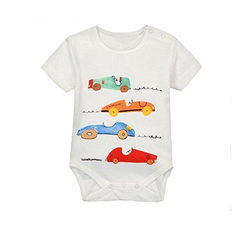 CuteOn À manches courtes Unisexe bébé voiture de course Toddler Creeper Triangle Romper 01 Rouge Sports Car 9 Mois