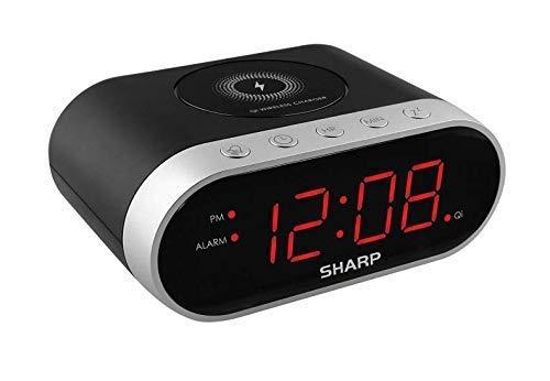 SHARP SPC679A – Alarma con carga inalámbrica – Certificado Qi – carga USB para segundo dispositivo.