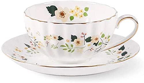 ZJZ Taza de té Estilo Europeo y Juego de platillo Art Bone China Taza de café de té de cerámica para el Desayuno, Cocina casera, pequeño Floral