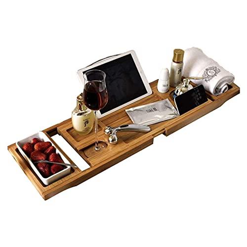 Extensible Bath Tray con Soporte para Copa de Vino, Soporte para iPad Bandejas Banera para Bañera con Rejilla de Lectura, Soporte para Tableta, Ranura para Copa de Vino,74.5 ~ 106x23x4.5cm