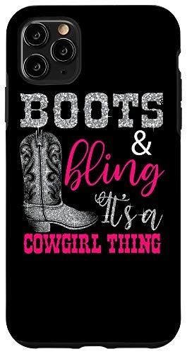 iPhone 11 Pro Max Funny Cowgirl Boots Bling Women Gift Cute Love Country Life Case