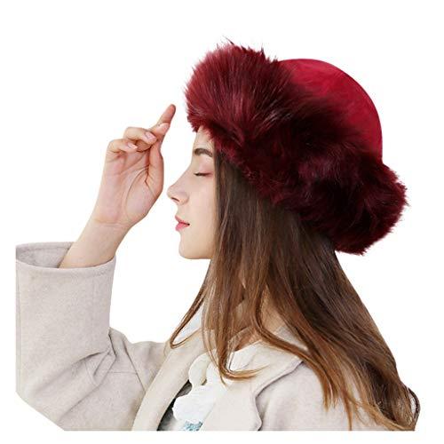 CapsA-Caps Women's Fur Hat Winter Thick Fur Hat Natural Fur and Sheepskin Warm Winter Solid Thick Mongolian Earmuffs Woollen Hat