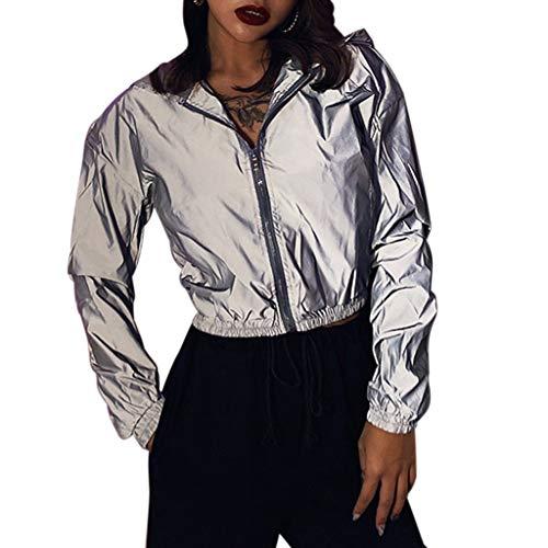 Reflektierend Jacke Nachts Hip Hop Kapuzenjacke Regenjacken Nacht Sicherheit Kleidung Street Mantel Sportanzug Jogging Casual Frauen Sport Reißverschluss Damen Mädchen (M,Silbergrau)