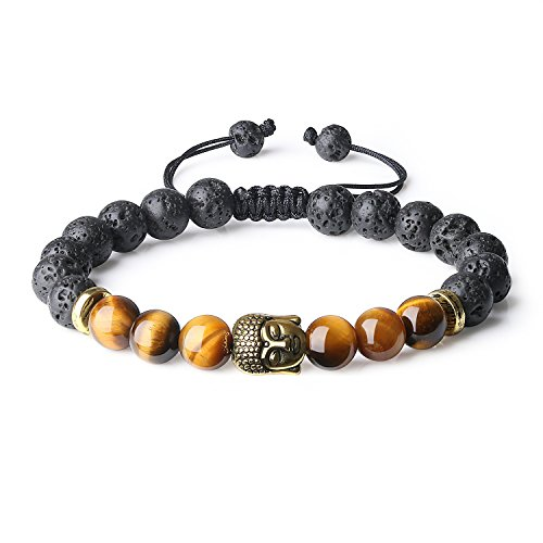 Peace9 Buddha Head Lava Bead and Tiger eye Bracelet for Aromatherapy Essential Oil Diffuser