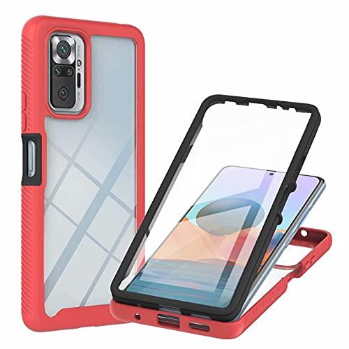 TTNAO Funda para Xiaomi Redmi Note 10 Pro Cover,Pet Material Carcasa 360 Grados Protección Case Práctica Protector de Pantalla Incorporado Cover Antichoque Resistente a los Arañazos Bumper Case-Rojo