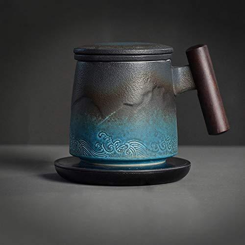 L-entcy Taza de té taza de café con filtro de lujo elegante azul negro taza de cerámica 10 oz oficina taza de té filtro hogar taza taza té tapa taza separada taza 310 ml mejor regalo