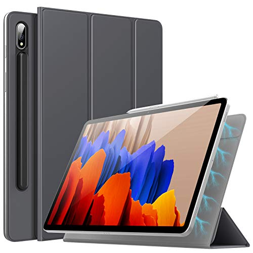 TiMOVO Case for All-New Samsung Galaxy Tab S7 Plus 12.4 Inch Tablet (SM-T970/T975/T976), Strong Magnetic Trifold Stand Case Cover with Auto Sleep/Wake Fit Galaxy Tab S7 Plus 2020 Tablet, Space Gray