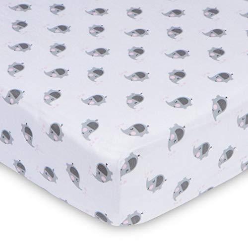Gerber Baby Girls 100% Jersey Knit Cotton Printed Crib Sheet Pink Eleph