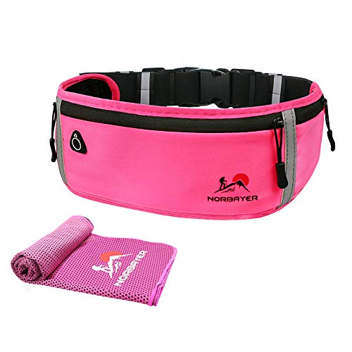 Slim Running Belt Funny Pack for Women Men, Adijustable Running Pouch Phone Holder,Phone Bag, Waist Pouch with 3 Pockets and Cooling Towel, Perfect Sports Accessories for iPhone