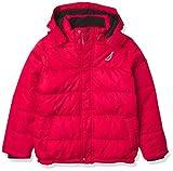 Nautica Boys' Fleece Lined Hooded Bubble Jacket, Red, Medium (10/12)