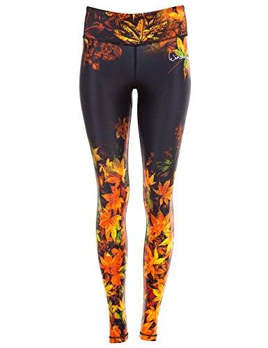 Winshape Damen Functional Power Slim Style Leggings, Falling Leaves, XL