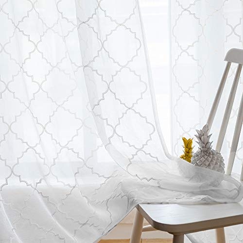 """White Sheer Curtains 84 Inches Long, Rod Pocket Sheer Drapes for Living Room, Bedroom, 2 Panels, 52""""x84"""", Embroidered Moroccan Tile Lattice Design Semi Voile Window Treatments for Yard, Patio, Villa."""