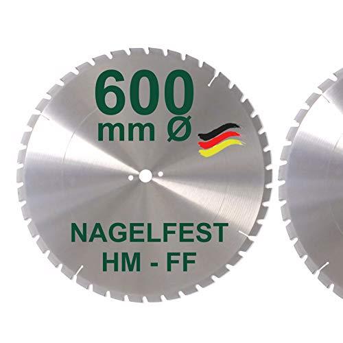HM Sägeblatt 600 x 28 mm NAGELFEST FF Hartmetall FSP Kreissägeblatt 600mm für Bauholz Brennholz Schalholz Leimholz zum Sägen mit Wippsäge Tischkreissäge Kreissäge Kappsäge Brennholzsäge Tischsäge