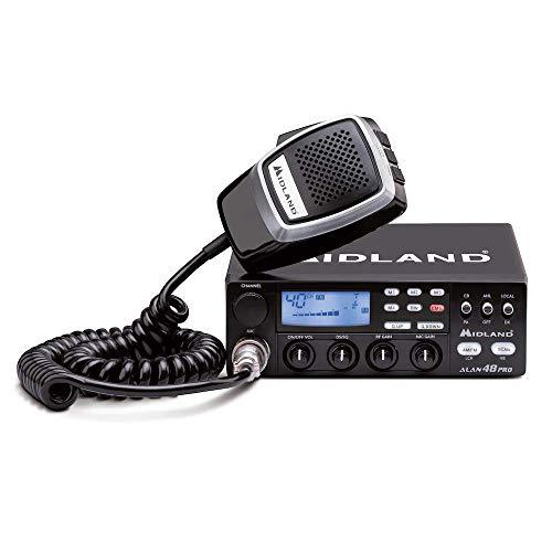 Midland Alan 48 Pro Multi Standard CB-Mobilfunkgerät, SMD-Technik und Blaue LCD-Anzeige, C422.16, mit Digital Squelch und Noise Blanker, inkl. Mikrofon und Halterungsbügel mit Schrauben