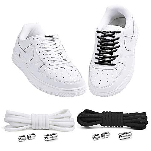 PLECUPE Cordones elásticos sin ataduras, cordones de zapatos cierre de metal, 2 pares, reemplazos universales de cordones sin cordones para todos los zapatos, niños y adultos