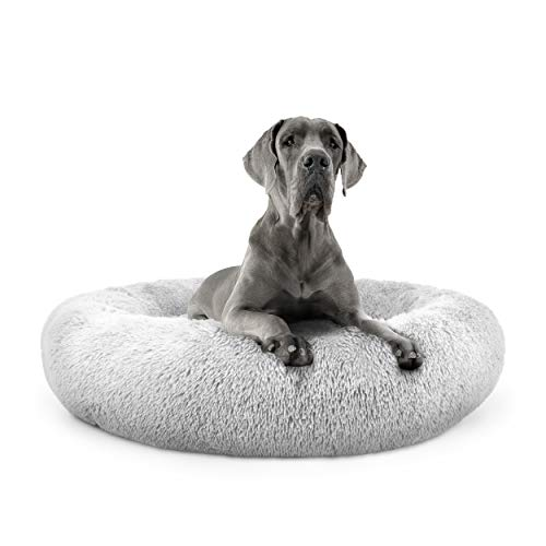 The Dog's Bed Sound Sleep Donut Dog Bed, XXL Ice White Plush Removable Cover Premium Calming Nest Bed
