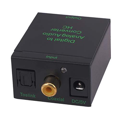 Yeebline Digitale naar Analoge Audio Converter, DAC SPDIF Toslink Coaxiaal naar Analoge Stereo Audio L/R Adapter met 3.5mm Jack Converter voor PS4 Xbox HDTV DVD Hoofdtelefoon met optische kabel en USB-voedingskabel