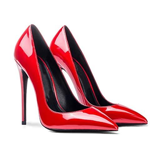 Tacones altos para mujer, tacón de pendiente sexy para mujer, zapatos altos de charol para primavera, 12 cm (deslizamiento), zapatos individuales Asakuchi, suela de goma (41 UE, rojo)