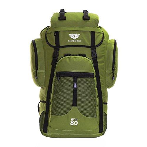 Slimbridge Knott 80 litri Zaino XL escursioni, Verde cachi