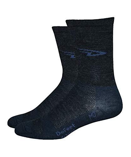 DeFeet WoolEator - Calcetines de ciclismo con logotipo en D, color gris, color gris, tamaño X-Large
