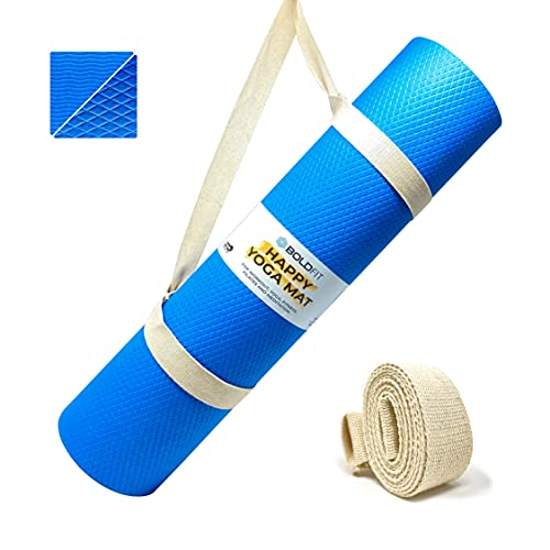 Boldfit Yoga mat for Women and Men with Carry Strap, EVA Material 6mm Extra Thick Exercise mat for Workout Yoga Fitness Pilates and Meditation, Anti Tear Anti Slip For Home & Gym Use
