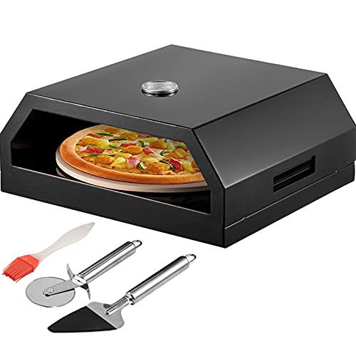 VEVOR Horno de Pizza para Exterior 42x37x19cm Horno Exterior a Leña para Pizza 24-232℃ Horno de Pizza Portátil al Aire Libre de Acero Inoxidable con Piedra Cordierita Termómetro para BBQ Campamentos