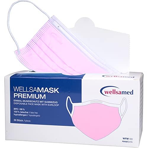 wellsamed wellsamask Mundschutz Gummibänder, Mund und Nasenschutz, OP-Masken, Einweg, 50 Stück, Rosa Pink CE/EN 14683 Typ IIR (Typ 2R) 3-lagig