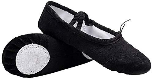 Zapatillas de Ballet con Suela Partida, Lona Transpirable con Punta en Cuero, Gomas de Sujeción Precosidas (28, Negro)