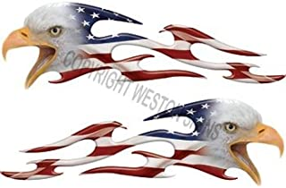 Tribal American Flag Eagle Flames - 2.25