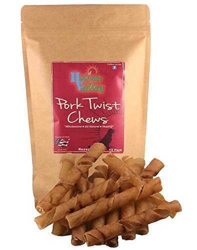 Holsome Valley Pork Twist Dog Chew Treats All Natural Premium Rawhide Alternative No Preservatives No Additives Sourced and Made in The USA Highly Digestible 12 Pack