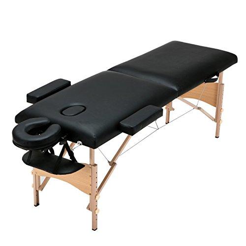 Uenjoy Lit de massage 72 '' Table de massage pliante professionnelle, 2 plis, base & Portable, Noir
