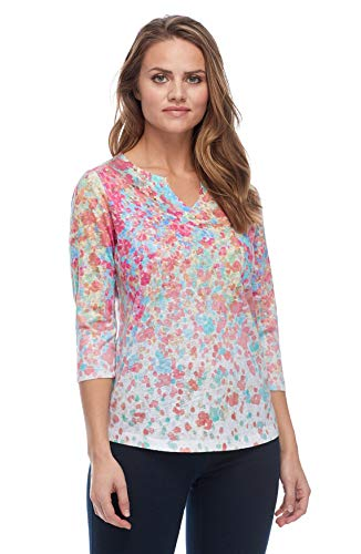 FDJ French Dressing Jeans Smooth Jersey Floral Burst Notched Crew 3 4 Length Sleeve Top, Multi, X-Small
