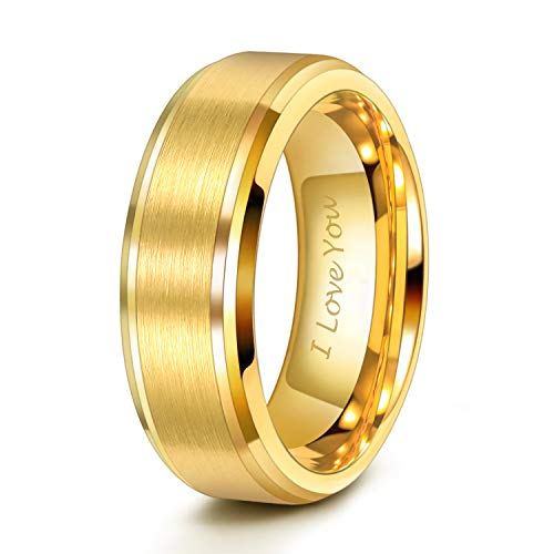 (47% OFF Coupon) Gold Tungsten Wedding Bands $9.99