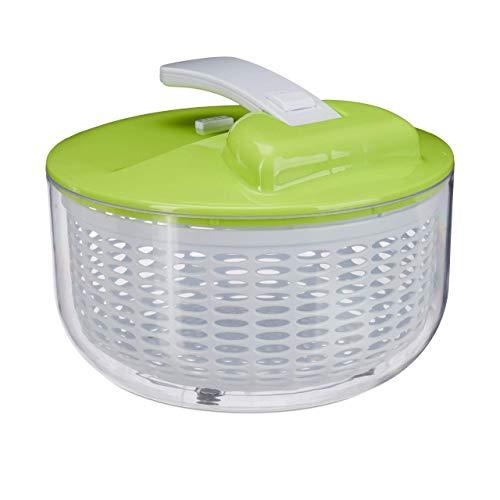 Relaxdays Salatschleuder zum Drücken, Profi salad spinner, großer Salattrockner, XXL Salatkarusssel 7 Liter, weiß-grün