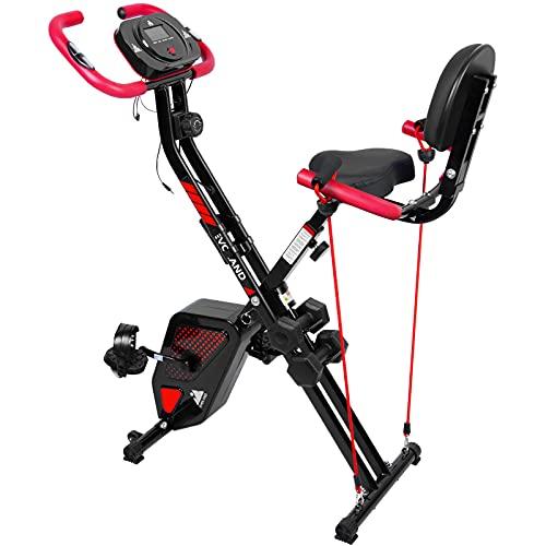 himaly F-Bike Heimtrainer, hometrainer fahrrad mit Handpulssensoren, Klappbarer Hometrainer, Verstellbare Widerstandsstufen,LCD-Display, 8-stufiger Magnetwiderstand