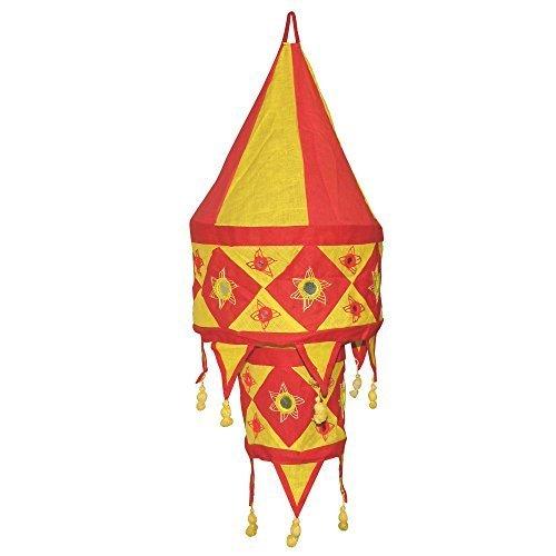 Indischer Lampenschirm rot - gelb 60cm Baumwolle Dekolampe Orient Hängelampe