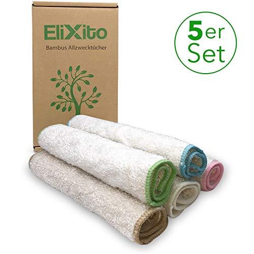 EliXito® - Bambus Putztücher 5er Set für Haushalt, Küche & Bad - Premium Bambus Tücher extra groß [29x26cm] - Vielfältig einsetzbare Allzwecktücher - Putzlappen nachhaltig